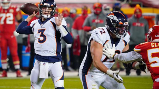 Denver Broncos quarterback Drew Lock (3) throws a pass during the second half against the Kansas City Chiefs at Arrowhead Stadium.