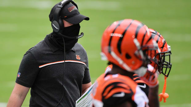 Dec 6, 2020; Miami Gardens, Florida, USA; Cincinnati Bengals head coach Zac Taylor walks on the sidelines during the first half against the Miami Dolphins at Hard Rock Stadium. Mandatory Credit: Jasen Vinlove-USA TODAY Sports