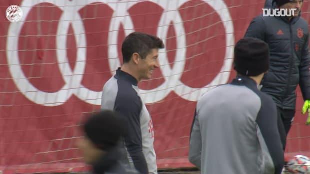 All smiles as Bayern stars train before Lokomotiv Moscow