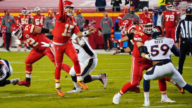 Dec 6, 2020; Kansas City, Missouri, USA; Kansas City Chiefs quarterback Patrick Mahomes (15) throws a pass during the first half against the Denver Broncos at Arrowhead Stadium. Mandatory Credit: Jay Biggerstaff-USA TODAY Sports