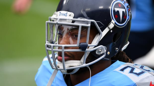 Tennessee Titans running back Derrick Henry (22) before the game against the Pittsburgh Steelers at Nissan Stadium.