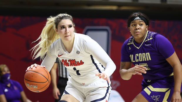 Sarah Dumitrescu. Ole Miss Women's Basketball vs Alcorn State on December 8th, 2020 at The Pavilion in Oxford, MS. (Josh McCoy)