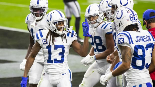 Wide receiver T.Y. Hilton celebrates his second touchdown reception in the Indianapolis Colts' Sunday victory over the Las Vegas Raiders at Allegiant Stadium.