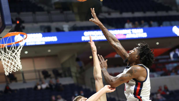 Ole Miss Men's Basketball vs UNCW on December 12th, 2020 at The Pavilion at Ole Miss in Oxford, MS.Photo by Joshua McCoy/Ole Miss Athletics
