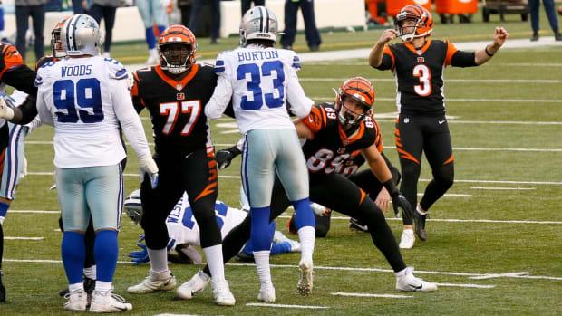 Cincinnati Bengals kicker Austin Seibert (3) kicks the point after in the second quarter of the NFL Week 14 game between the Cincinnati Bengals and the Dallas Cowboys at Paul Brown Stadium in downtown Cincinnati on Sunday, Dec. 13, 2020. The Cowboys led 17-7 at half time. Dallas Cowboys At Cincinnati Bengals