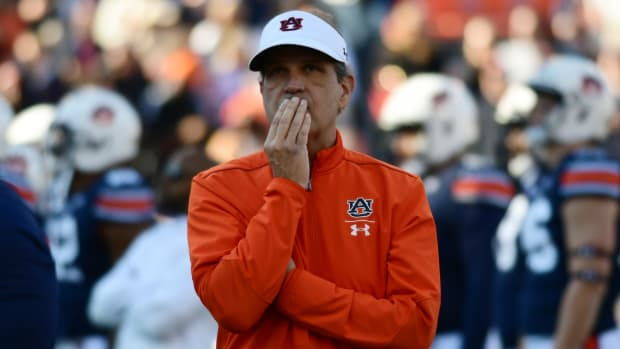 Auburn defensive coordinator and interim head coach Kevin Steele reacts during a game.