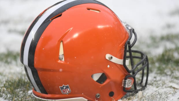 Dec 24, 2017; Chicago, IL, USA; A general view of a Cleveland Browns helmet prior to a game against the Chicago Bears at Soldier Field. The Bears won 20-3.