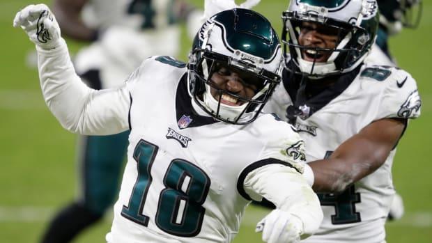 Jalen Reagor celebrates a touchdown in 2020