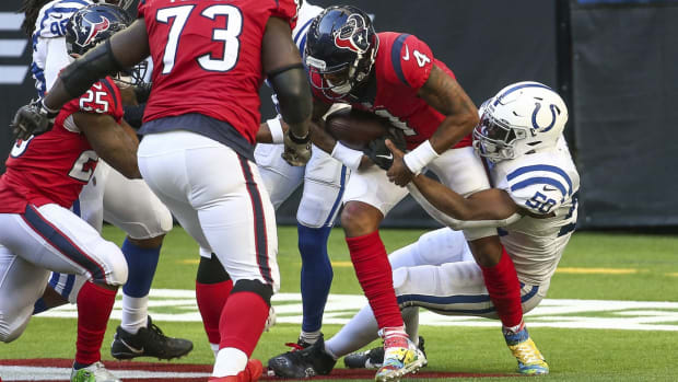Indianapolis Colts defensive end Justin Houston sacks Houston Texans quarterback Deshaun Watson for a safety in a Dec. 6 road win at NRG Stadium.