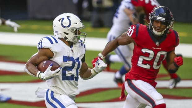 Indianapolis Colts running back Nyheim Hines runs for a touchdown in a Dec. 6 road win against the Houston Texans.