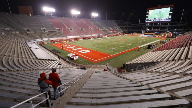 Dec 5, 2020; Salt Lake City, Utah, USA; Preparation for the game was underway prior to the Utah Utes plying the Oregon State Beavers at Rice-Eccles Stadium.