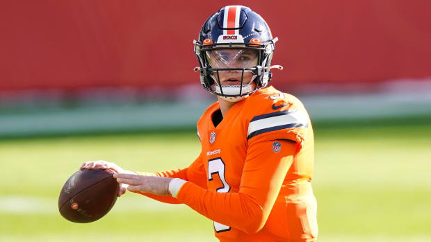 Denver Broncos quarterback Drew Lock (3) warms up before game against the Buffalo Bills at Empower Field at Mile High.