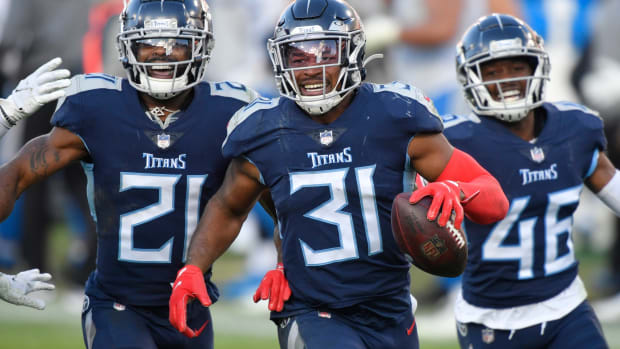 Tennessee Titans free safety Kevin Byard (31) celebrates his interception of a Detroit Lions pass during the fourth quarter at Nissan Stadium Sunday, Dec. 20, 2020 in Nashville, Tenn.