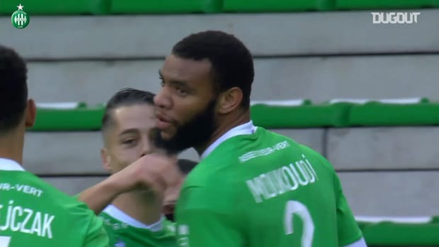 Harold Moukoudi's first goal with Saint-Etienne