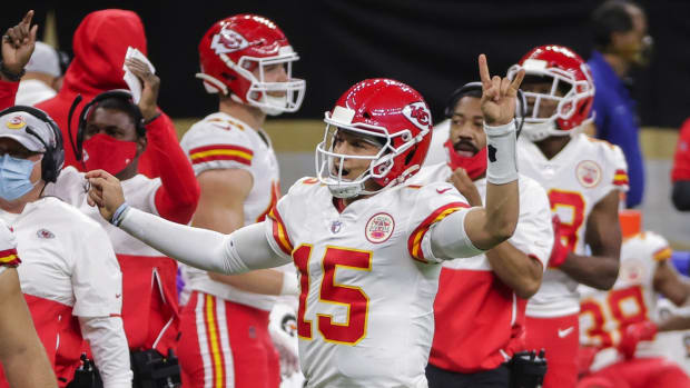 Dec 20, 2020; New Orleans, Louisiana, USA; Kansas City Chiefs quarterback Patrick Mahomes (15) celebrates after a score against the New Orleans Saints during the second half at the Mercedes-Benz Superdome. Mandatory Credit: Derick E. Hingle-USA TODAY Sports