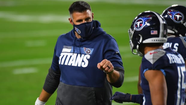 Tennessee Titans head coach Mike Vrabel and Tennessee Titans wide receiver Nick Westbrook (15) before the game against the Indianapolis Colts at Nissan Stadium.