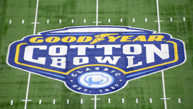 Cotton Bowl logo on the field