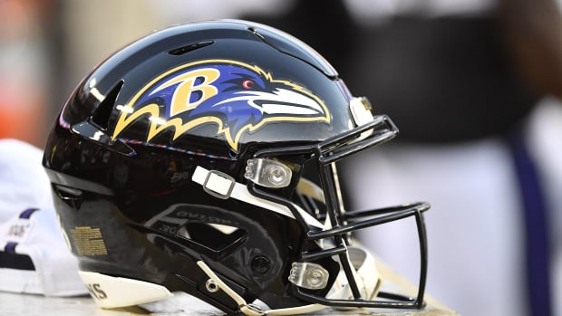 Aug 29, 2019; Landover, MD, USA; Baltimore Ravens helmet during the first half at FedExField.