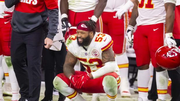 Nov 22, 2020; Paradise, Nevada, USA; Kansas City Chiefs linebacker Anthony Hitchens (53) against the Las Vegas Raiders at Allegiant Stadium. Mandatory Credit: Mark J. Rebilas-USA TODAY Sports