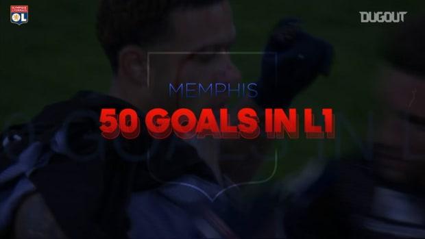 Memphis Depay's first 50 goals in Ligue 1