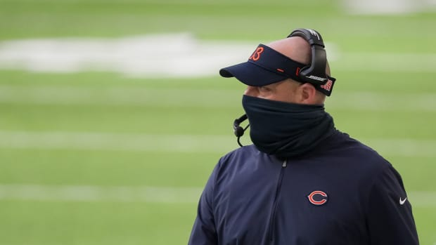 Chicago Bears head coach Matt Nagy looks on during the first quarter against the Minnesota Vikings at U.S. Bank Stadium.