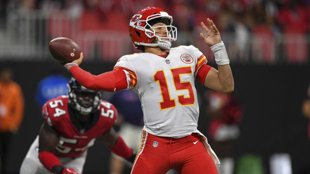 Aug 17, 2018; Atlanta, GA, USA; Kansas City Chiefs quarterback Patrick Mahomes (15) passes against the Atlanta Falcons during the first half at Mercedes-Benz Stadium. Mandatory Credit: Dale Zanine-USA TODAY Sports