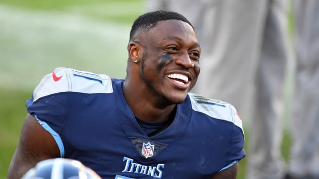 Tennessee Titans wide receiver A.J. Brown (11) reacts on the sidelines in the closing minutes of a Titans victory over the Detroit Lions at Nissan Stadium.