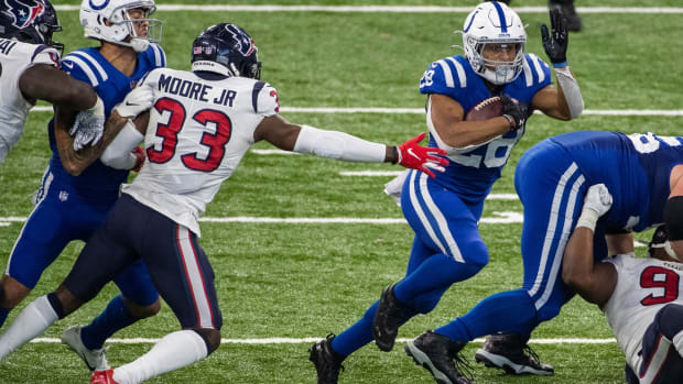 Indianapolis Colts rookie running back Jonathan Taylor cuts through the Houston Texans defense in a Week 15 home win.