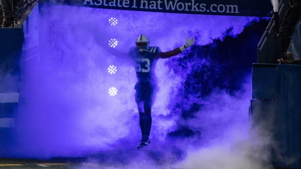 Indianapolis Colts linebacker Darius Leonard enters before a home game at Lucas Oil Stadium.