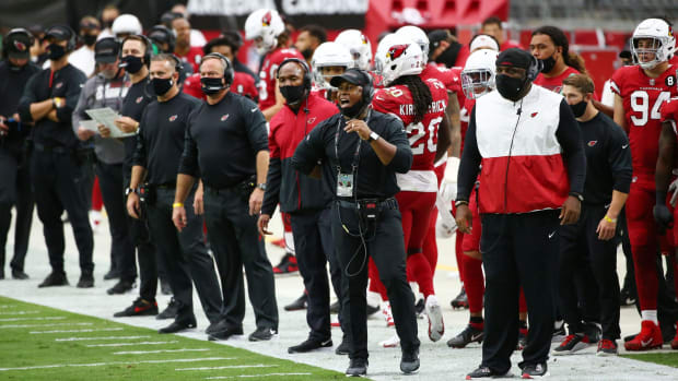 Arizona Cardinals defensive coordinator Vance Joseph reacts during action against the Detroit Lions in the second half at State Farm Stadium.