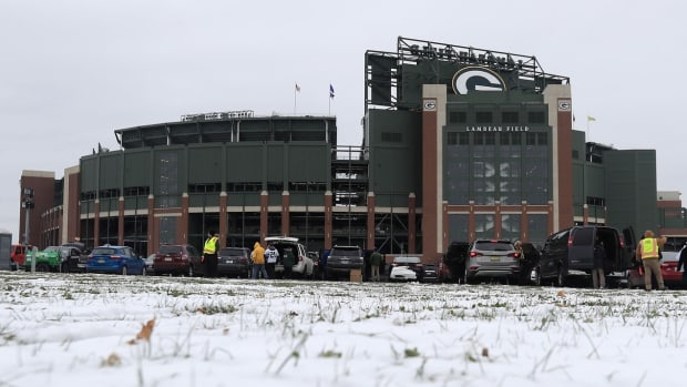 Snow is shown outside Lambeau Field prior to the game between the Miami Dolphins and the Green Bay Packers.