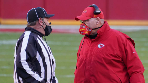 Dec 27, 2020; Kansas City, MO, USA; Kansas City Chiefs head coach Andy Reid talks to an official in the fourth quarter against the Atlanta Falcons at Arrowhead Stadium. Mandatory Credit: Denny Medley-USA TODAY Sports