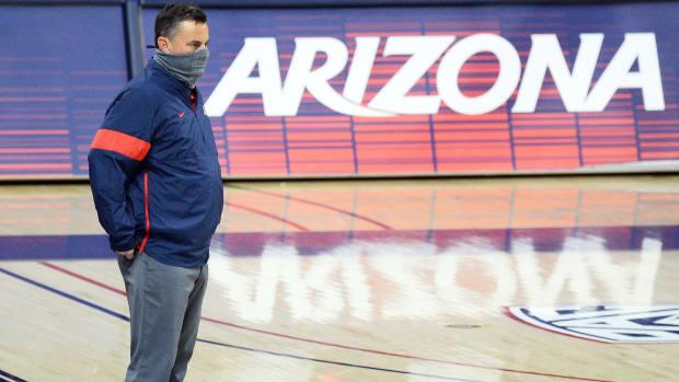 Arizona men's basketball coach Sean Miller looks on during a game