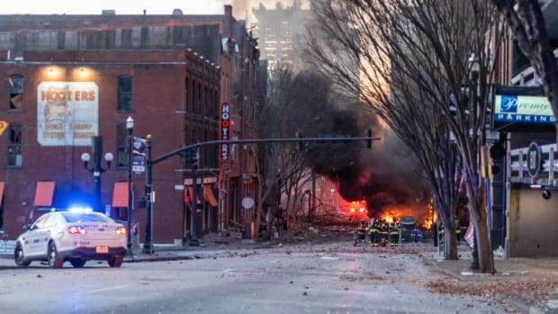 The scene on Second Avenue North shortly after an explosion the area on Friday, Dec. 25, 2020 in Nashville, Tenn.
