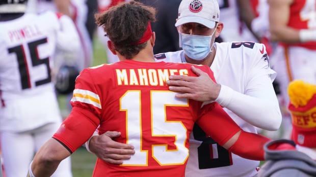 Dec 27, 2020; Kansas City, MO, USA; Kansas City Chiefs quarterback Patrick Mahomes (15) greets Atlanta Falcons quarterback Matt Ryan (2) after the game at Arrowhead Stadium. Mandatory Credit: Denny Medley-USA TODAY Sports