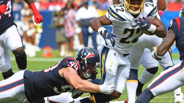 J.J. Watt of the Houston Texans facing the Los Angeles Chargers