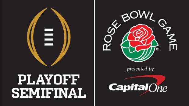 CFP Semifinal Rose Bowl Game Dual Signature PMS Dark BG