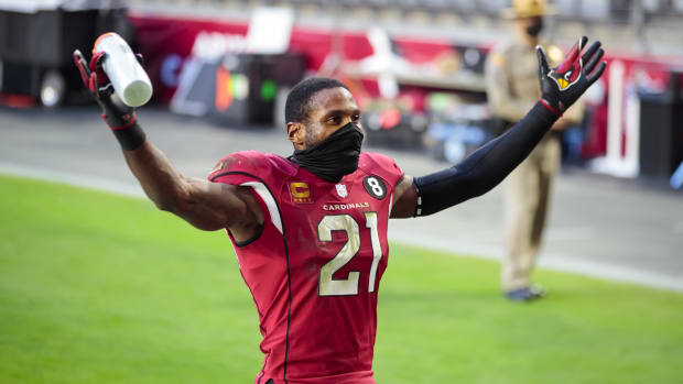 Arizona Cardinals cornerback Patrick Peterson (21) celebrates in the second half against the Buffalo Bills at State Farm Stadium.