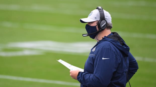 Tennessee Titans offensive coordinator Arthur Smith calls plays during the first half against the Houston Texans at Nissan Stadium.