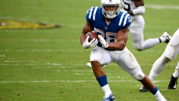 Indianapolis Colts rookie running back Jonathan Taylor needs 84 rushing yards on Sunday to reach 1,000 this season.