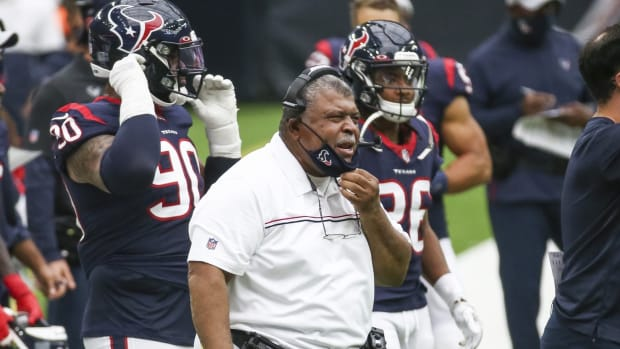 Houston Texans interim head coach Romeo Crennel reacts after a play during the second quarter against the Jacksonville Jaguars at NRG Stadium.