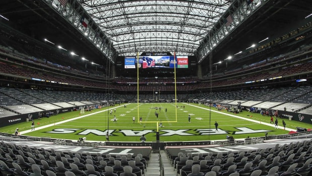 General view inside NRG Stadium before a game between the Houston Texans and the Baltimore Ravens.