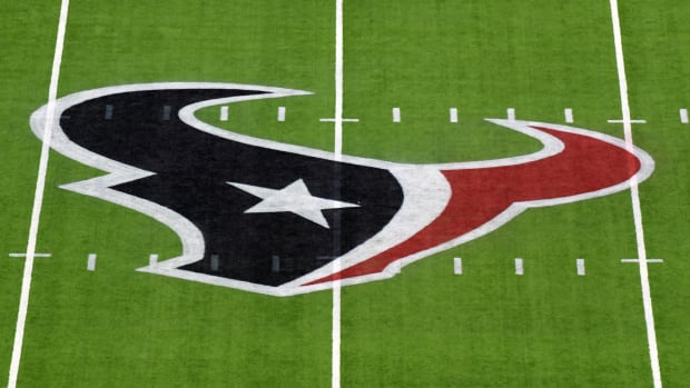 Houston Texans logo is seen on the field before a game between the Indianapolis Colts and Houston Texans at NRG Stadium.