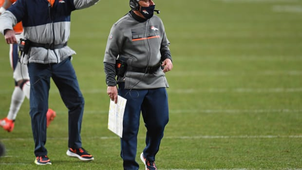 Denver Broncos head coach Vic Fangio during the fourth quarter against the Las Vegas Raiders at Empower Field at Mile High.