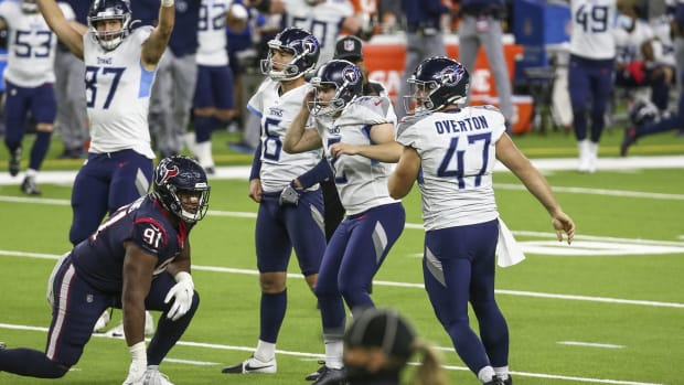 Tennessee Titans kicker Sam Sloman (2) reacts after making a field goal during the fourth quarter against the Houston Texans at NRG Stadium.