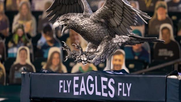 Jan 3, 2021; Philadelphia, Pennsylvania, USA; An Eagle statue outside the tunnel of the Philadelphia Eagles before a game against the Washington Football Team at Lincoln Financial Field.