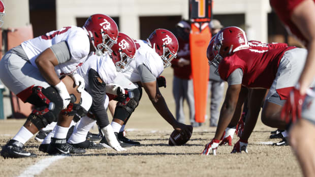 Offensive line, Alabama practice, January 5, 2020