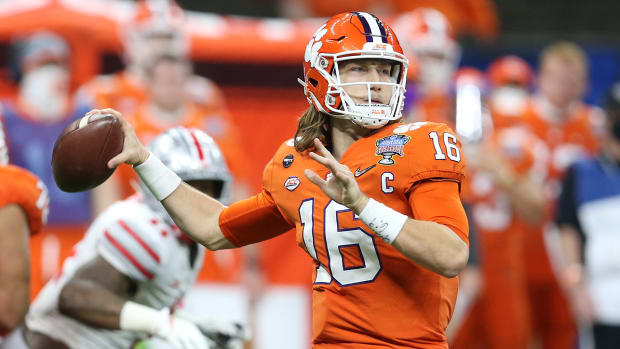 Trevor Lawrence throws a pass in the Sugar Bowl