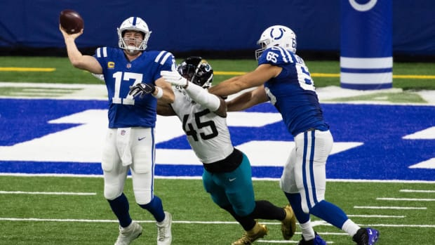 Indianapolis Colts offensive left tackle Jared Veldheer (65) blocks for quarterback Philip Rivers in Sunday's Week 17 home win over the Jacksonville Jaguars. Veldheer had two days of practice after not playing all season and was pressed into starting.