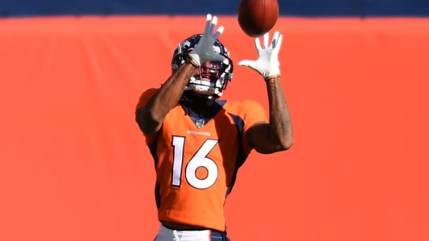 Denver Broncos wide receiver Tyrie Cleveland (16) warms up before a game against the New Orleans Saints at Empower Field at Mile High.